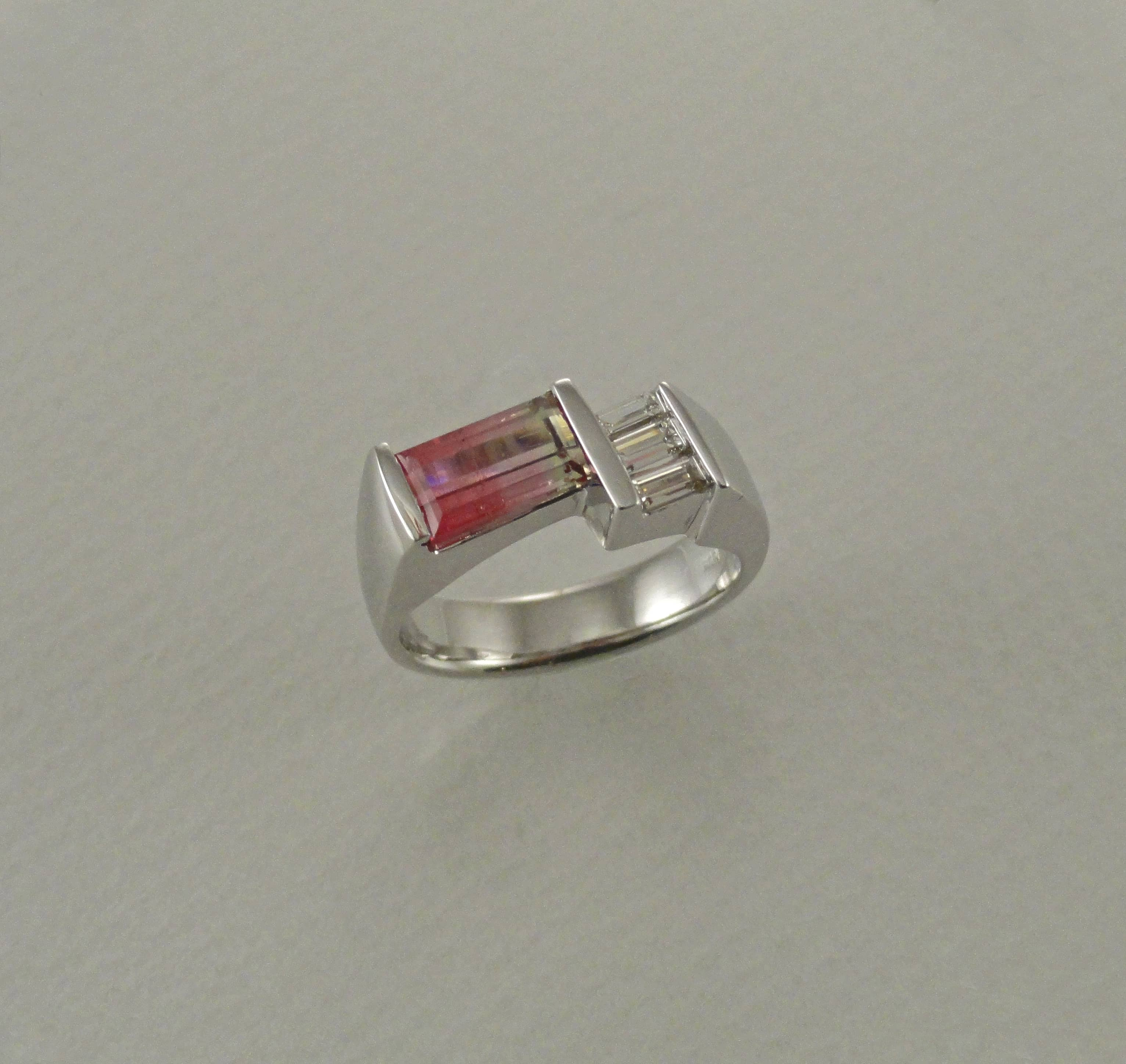 Bicolor Tourmaline Geometric Ring  Summit Jewelers  7821 Big Bend Blvd  Webster Groves MO