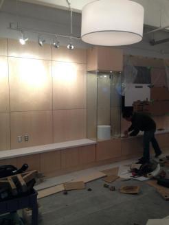 White Quartz Silestone being installed on Credenza