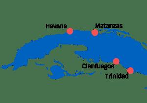 Havana-Trinidad Tour Map