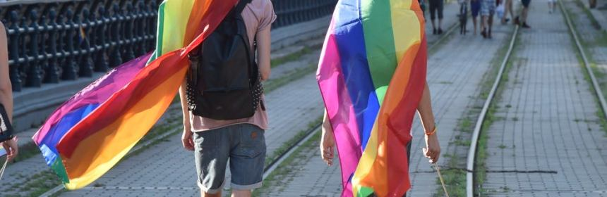two people in rainbow flags walk down train track