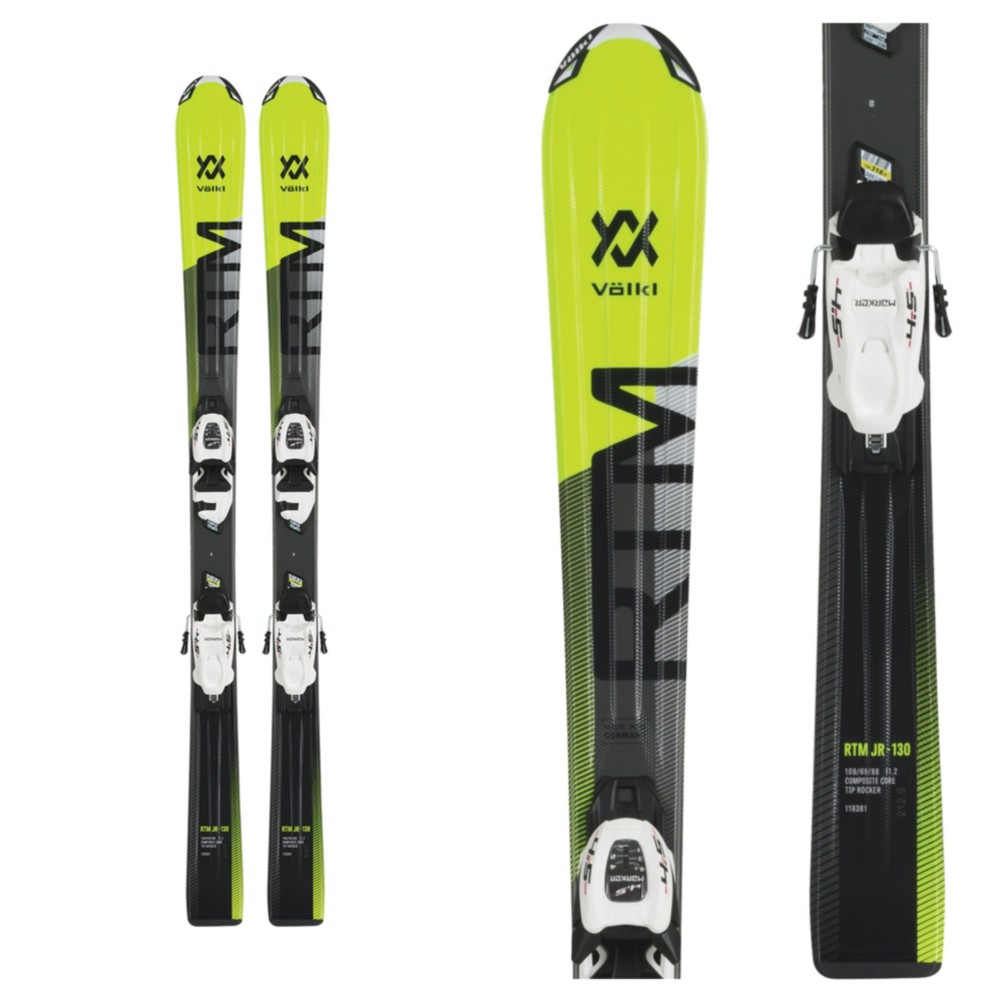 Volkl rtm jr kids skis with vmotion bindings also sizing guide for rh