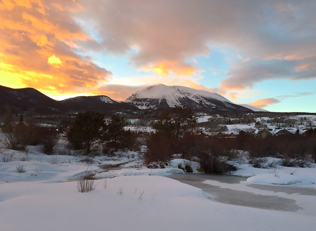 Sunset over Buffalo Mountain in Frisco, Colorado.