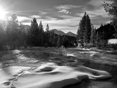Tough to capture the full intensity of winter light in black and white, but always worth a try.