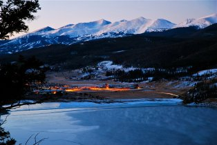 A time exposure from Sapphire Point, looking toward Farmers Korner in Summit County, Colorado.