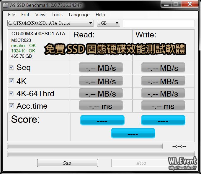 AS SSD Benchmark v2.0 – 最新版下載!免費 SSD 固態硬碟效能測試 (測速/跑分) 軟體 – WL.Event