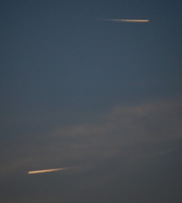 Jets look like meteors streaking across the sky