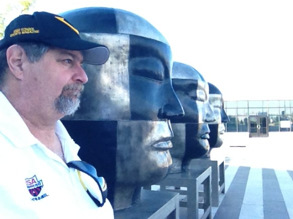 """The Artsy side of me likes to get selfies where I """"kind of"""" fit in....  This was in Council Bluffs, Iowa in August 2013"""