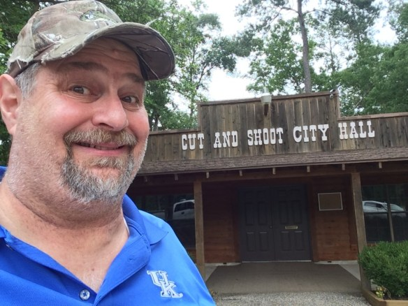 Had to visit the town of Cut and Shoot, Texas north of Conroe, just for a photo op with their City Hall and the town name - taken in June 2014