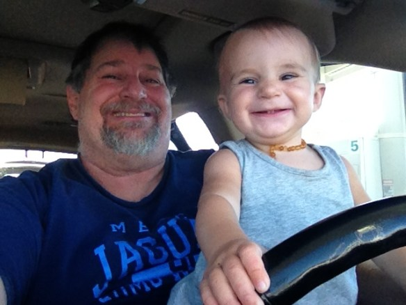 Teaching my granddaughter Lyla to drive