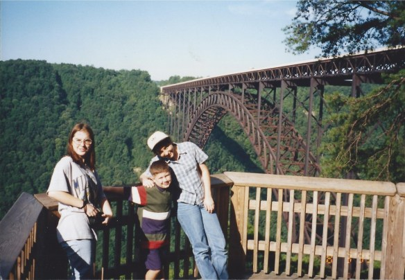Barbara with Solomon and Marissa at New River Gorge, WV in Aug 1995