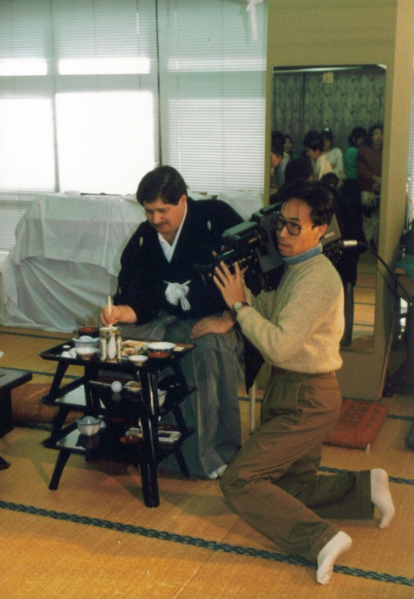 I was a co-host for a New Year's Celebration program in Oita in Jan. 1989.  Here I am with the camera man prepping fr the show.