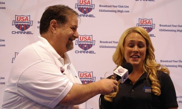 As part of my iHigh work I was responsible for the USA Swimming partnership and got to attend the Olympic Trials and broadcast some events.  I a interviewing multi medalist Kaitlin Sandeno