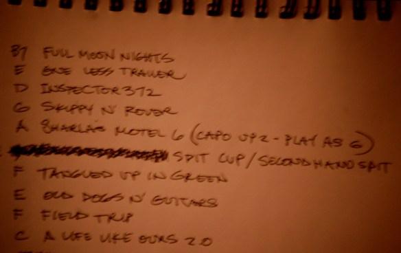 Antsy's hand-written set list