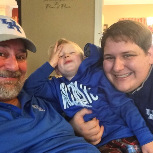 Three generations of Kravetz guys getting ready for the UK Wildcats to down the U of L Cardinals in 2014