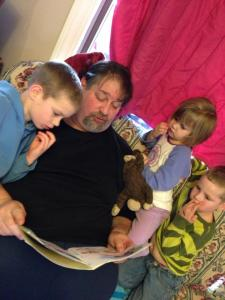 Reading to Grandkidz in Montana in 2014