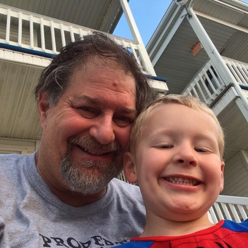 Rockwell and Grampz at Old Orchard Beach in Maine in September 2015
