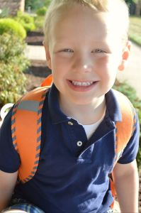 Rockwell on his first day of school August 2014 (photo by Holly Kravetz)