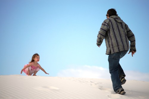 White Sands National Monument in New Mexico, with her uncle Solomon