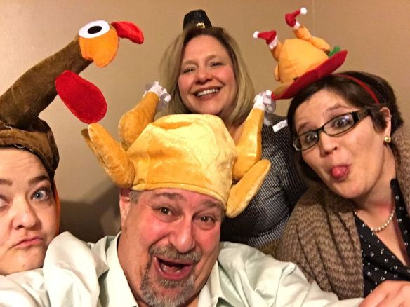 Thanksgiving Hat Fun with Tregoney, me, Julianne and Chelsea