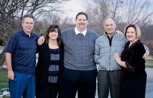 Joe with my sister Sherry, her husband Brian and me and Julianne, Christmas 2012