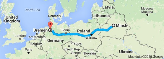 Minsk (currently in Belorus) to Bremen, Germany is about 770 miles