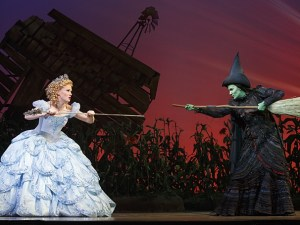 A stage scene from Wicked of the witches Glinda and
