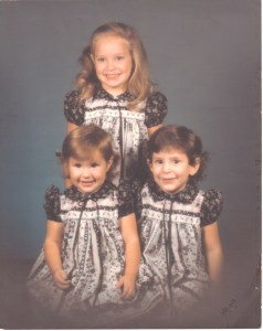 Three sisters around 1987. Dresses were made by Julianne