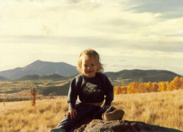 Amaree in front of the San Francisco Peaks near Flagstaff, AZ ca. 1983