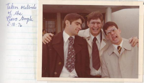 Hanging with Elder White and Elder Simons at the Provo Temple on Feb. 18, 1976