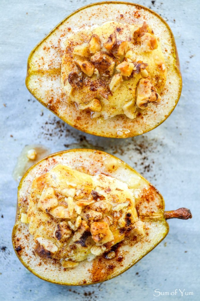 Baked Pears With Honey Walnut Goat Cheese - Sum Of Yum