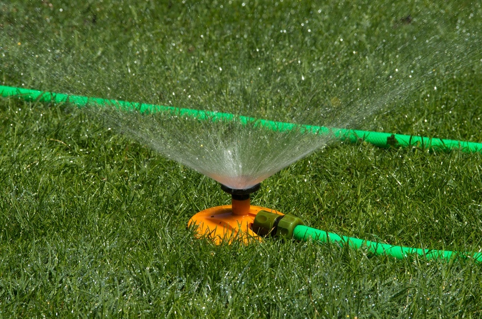 using stationary sprinklers for a softer soaking, as not to loosen the sown grass seeds.
