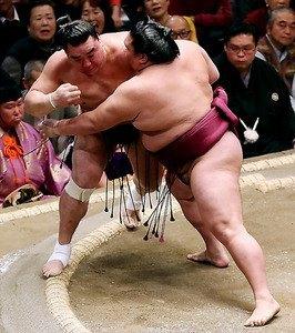 Ayer fue Mitakeumi y hoy Shohozan. Lo cierto es que Harumafuji acumula ya dos derrotas en el Hatsu Basho (Foto: SumoForum.net)