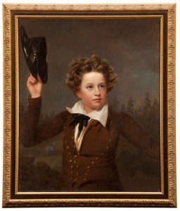painting of a boy in a brown suit waving a patent leather cap