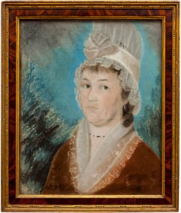 drawing of woman with brown hair in white cap and brown dress