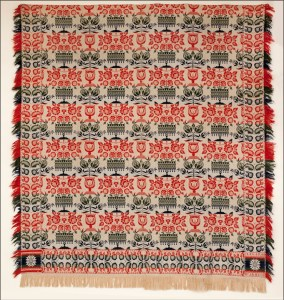 red, blue and white floral pattern coverlet