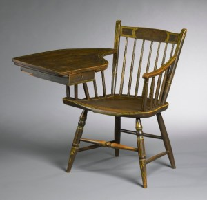 green painted Windsor writing chair