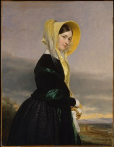 portrait of a woman looking right wearing a black silk gown, green shawl and yellow silk bonnet