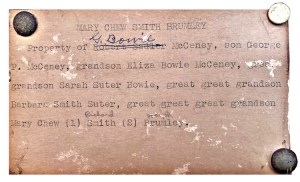 typed card listing genealogy of Mary Brumley