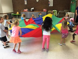Parachute Play in the Social Hall