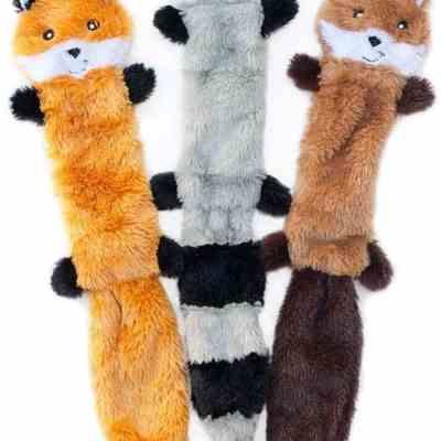 No Stuffing Squeaky Plush Dog Toy Set Image