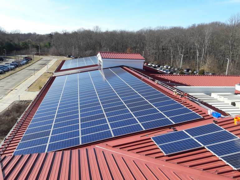 Commercial Solar sub array 250 of 850 panels in Trumbull CT-Sun-Wind Solutions