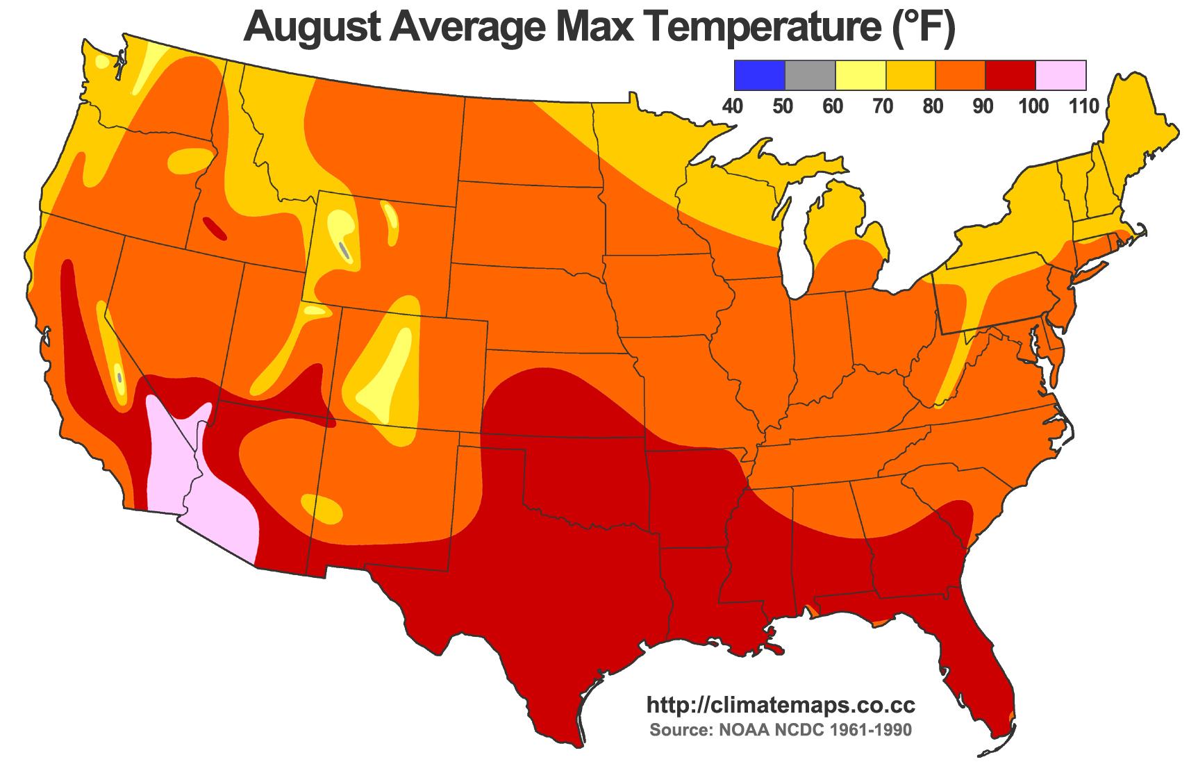 Texas Average Temperature Map