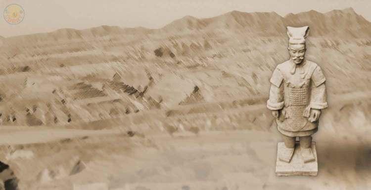 Terrakotta-Soldat aus dem Grabmahl des Kaisers Qín Shǐ Huáng Dì bei Xian / China