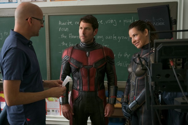 Ant-Man and the Wasp director Peyton Reed on the set with Paul Rudd and Evangeline Lilly