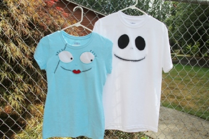 Jack Skellington and Sally character t-shirts