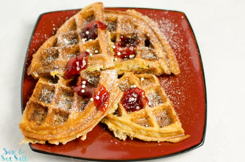 An easy to make recipe for Peanut Butter and Banana waffles