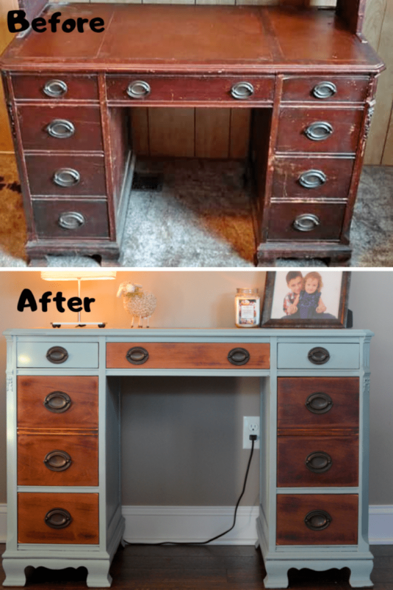 Before and after my first chalk paint furniture makeover using Annie Sloan.