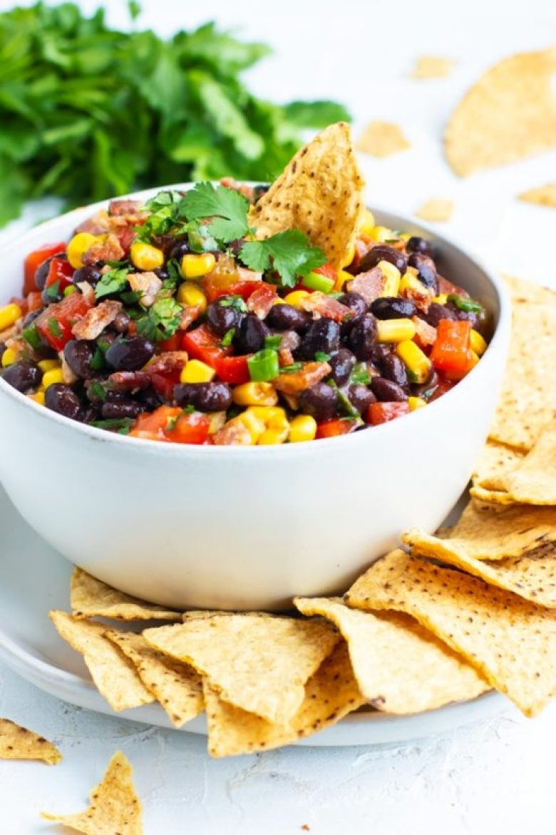 Black Bean & Corn Salsa is a healthier alternative to many dips for Super Bowl snacks.