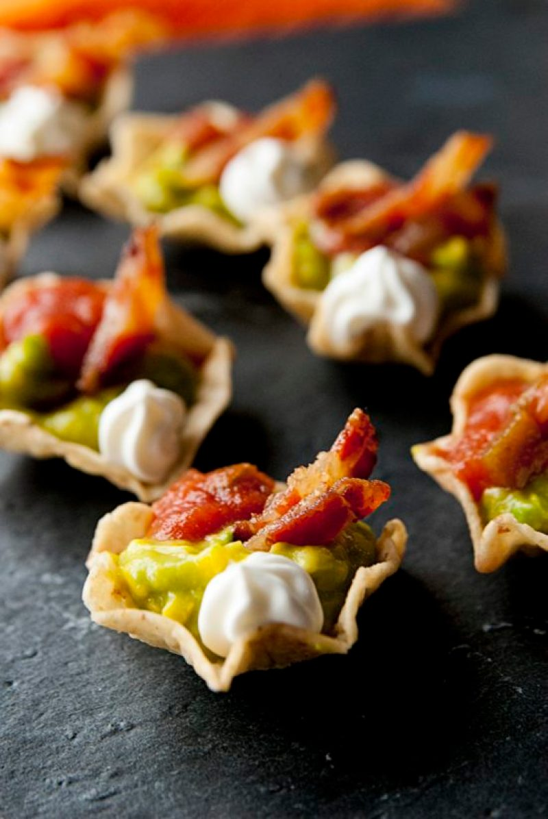 Bacon and Tomato Guacamole Bites are a super bowl snack I won't share.