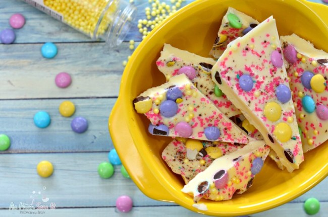 This candy bark uses leftover Easter candy for a pretty spring flair
